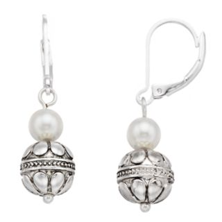 Napier Bead & Simulated Pearl Drop Earrings