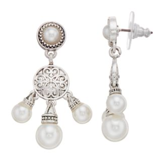 Napier Simulated Pearl & Silver-Tone Chandelier Earrings