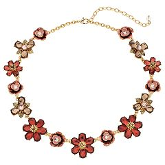 Napier Red Flower Statement Necklace