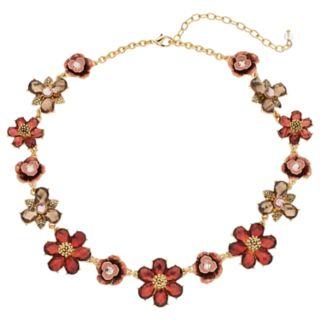 Napier Red Flower Statement Necklace