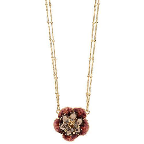 Napier Red Flower Pendant Necklace