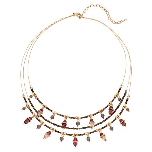 Napier Red Bead & Simulated Pearl Statement Necklace