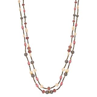 Napier Bead & Simulated Pearl Double Strand Long Necklace