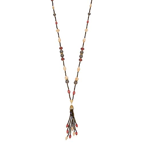 Napier Bead & Simulated Pearl Tassel Y Necklace