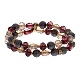 Napier Gold Tone Beaded Double Strand Stretch Bracelet