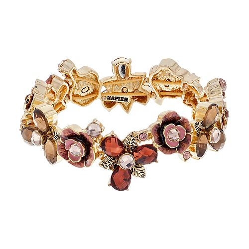 Napier Gold Tone Flower Stretch Bracelet