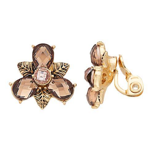 Napier Brown Flower Clip On Earrings