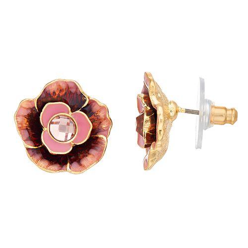 Napier Pink Flower Stud Earrings