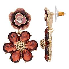 Napier Floral Double-Drop Earrings