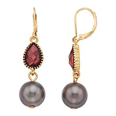 Napier Simulated Pearl Double Drop Earrings