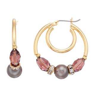 Napier Bead & Simulated Pearl Double Hoop Earrings