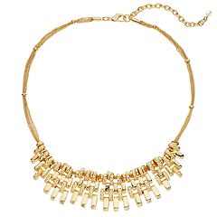 Napier Gold Tone Bar Statement Necklace