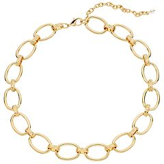 Napier Gold Tone Oval Link Collar Necklace