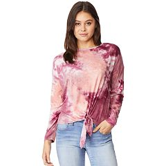 Juniors' Wallflower Tie Front Long Sleeve Tee