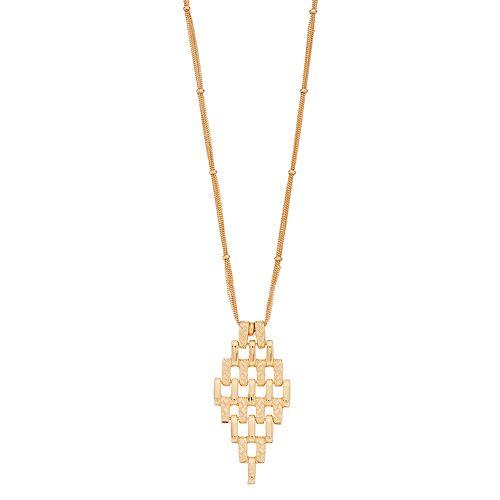 Napier Textured Bar Marquise Pendant Necklace
