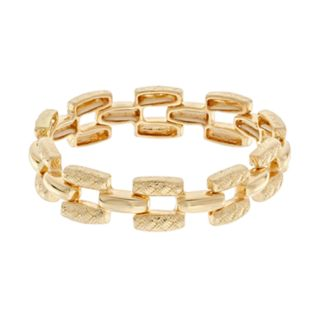 Napier Gold Tone Textured Bar Link Stretch Bracelet