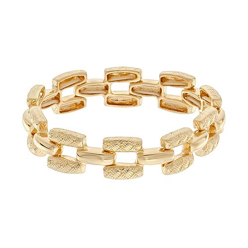 Napier Gold Tone Textured Bar Link Stretch Bracelet