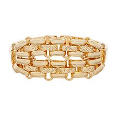 Napier Gold Tone Textured Bar Link Bracelet