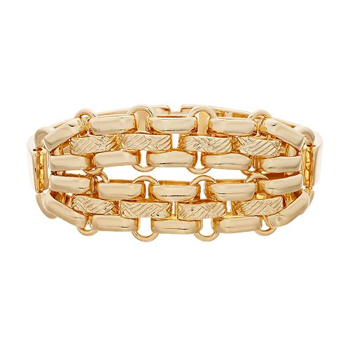Napier Gold Tone Textured Bar Link Bracelet