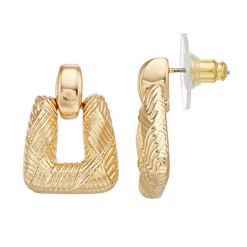 Napier Textured Doorknocker Drop Earrings