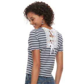 Juniors' American Rag Crochet Back Striped Crop Top