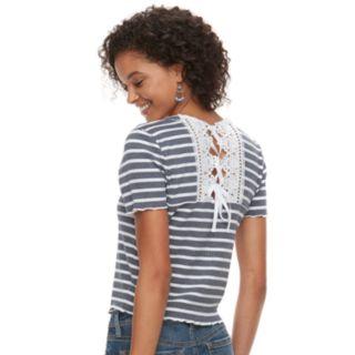 Juniors' American Rag Crochet Back Striped Crop Top
