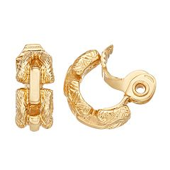 Napier Gold-Tone Clip On Hoop Earrings