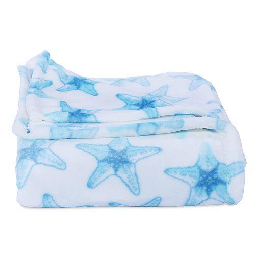 Better Living Starfish Print Plush Throw