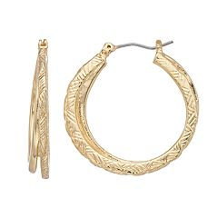 Napier Gold Tone Textured Hoop Earrings
