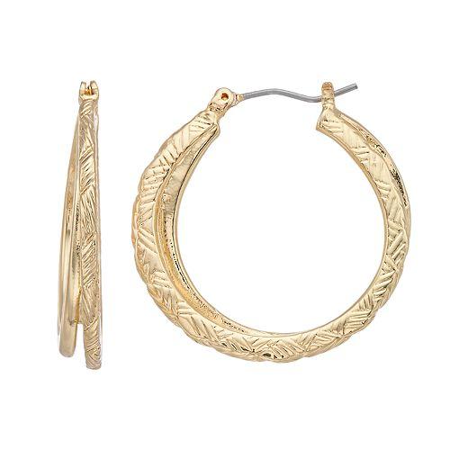 Napier Gold Tone Textured Hoop Earrings