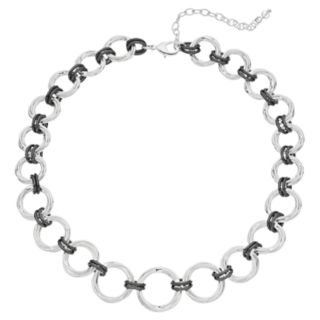 Napier Two Tone Circle Link Collar Necklace