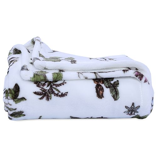 Better Living Botanical Print Plush Throw