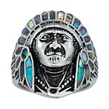 Men's Stainless Steel Abalone Native American Chief Ring