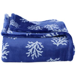 Better Living Coral Print Plush Throw