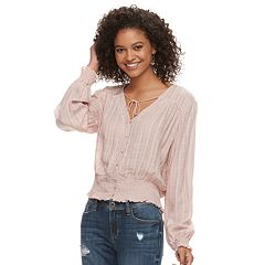 Juniors' American Rag Smocked Plaid Jacquard Top