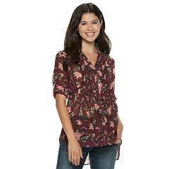 Juniors' American Rag Pintuck Floral Tunic