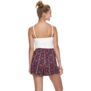 Juniors' Lily Rose Quilted & Floral Romper