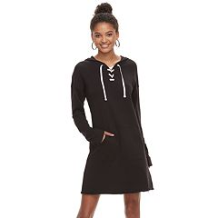 Juniors' SO® Lace-Up Hooded Long Sleeve Dress