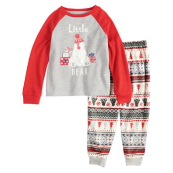 """Toddler Jammies For Your Families Polar Bear Fairisle Family Pajamas """"Little Bear"""" Top & Bottoms Set by Cuddl Duds"""