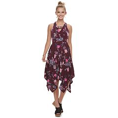 Juniors' Candie's® Lace-Up Hanky Hem Maxi Dress