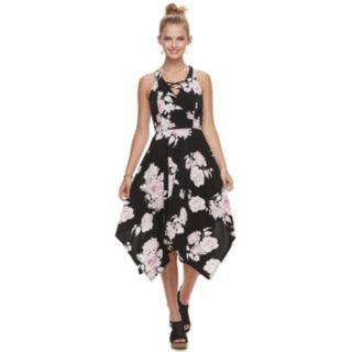 Juniors' Candie's® Lace-Up Hanky Hem Maxi Dress