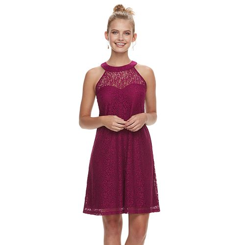 Juniors' Candie's® High Neck Lace Swing Dress