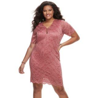 Juniors' Plus Size Liberty Love Short Sleeve Lace Bodycon Dress