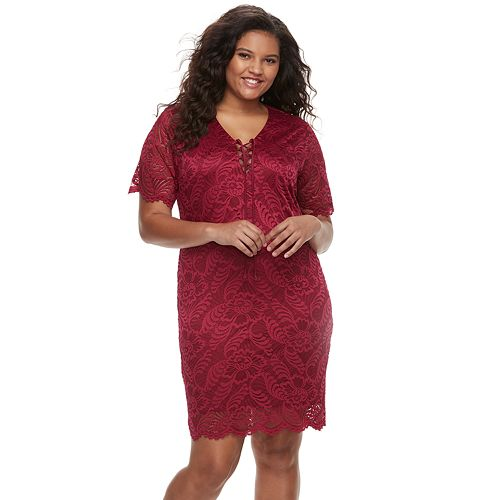 Juniors Plus Size Liberty Love Short Sleeve Lace Bodycon Dress