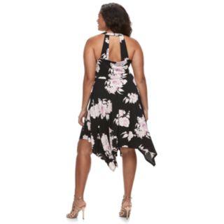 Juniors' Plus Size Candie's® Lace-Up Handkerchief Maxi Dress