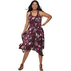 Juniors' Plus Size Candie's® Lace-Up Handkerchief Maxi Dress