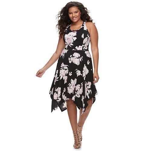 Juniors\' Plus Size Candie\'s® Lace-Up Handkerchief Maxi Dress