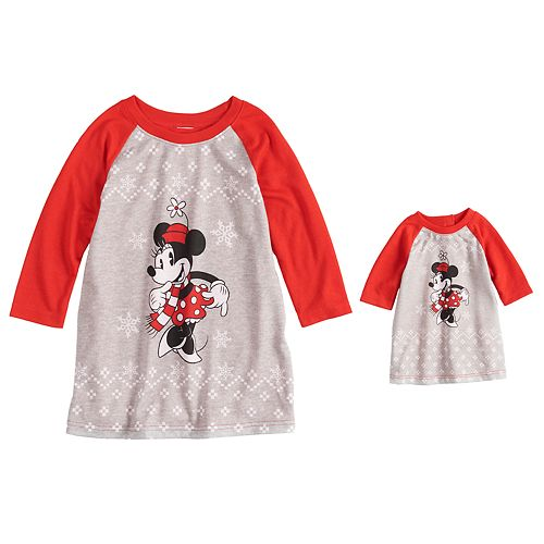 Disney's Minnie Mouse Toddler Girl Minnie Nightgown & Doll Gown Pajama Set by Jammies For Your Families