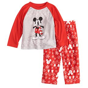 Disney's Mickey Mouse Toddler Mickey Top & Fairisle Microfleece Bottoms Pajamas Set by Jammies For Your Families