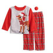 Toddler Jammies For Your Families Rudolph the Red-Nosed Reindeer Top & Plaid Bottoms Pajama Set with Red Nose Accessory